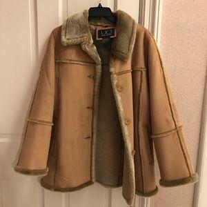 Utex Design Faux Swede Fur Coat Jacket - Small